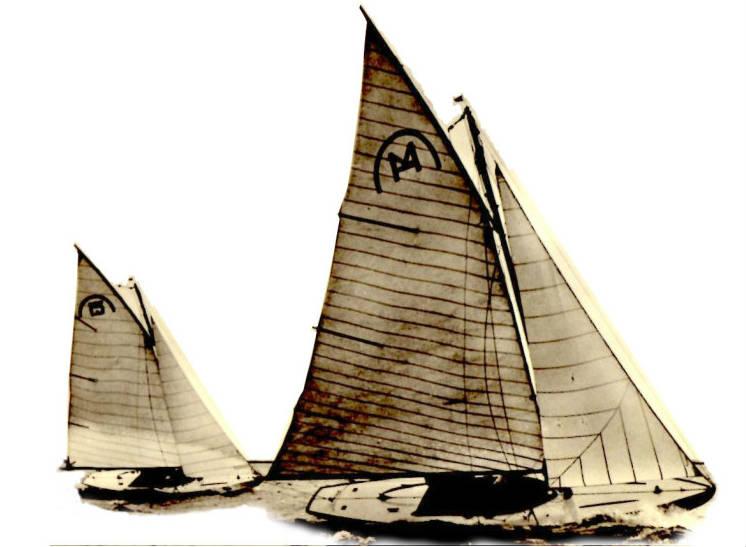 Zeilboot op het water van een oude foto in Friesland
